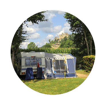 Campsite in Dordogne with views of Beynac castle
