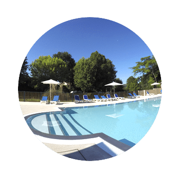 Heated swimming pool of the campsite & water park