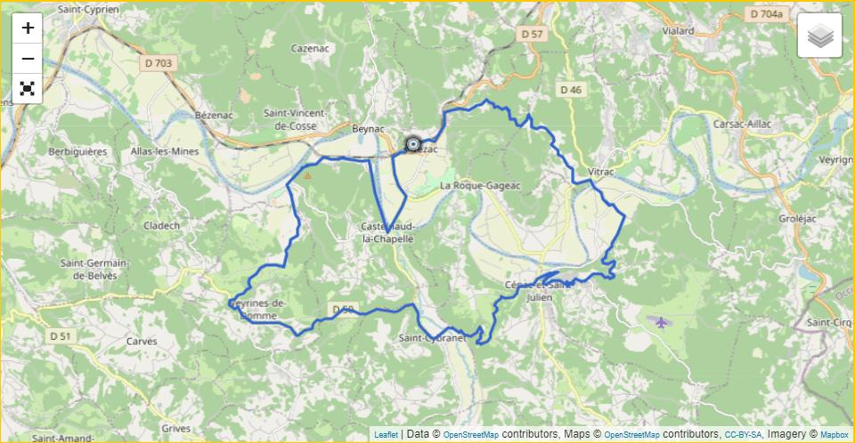 Circuit 2 Vezac – Castelnaud – Chateau Fayrac – Domme